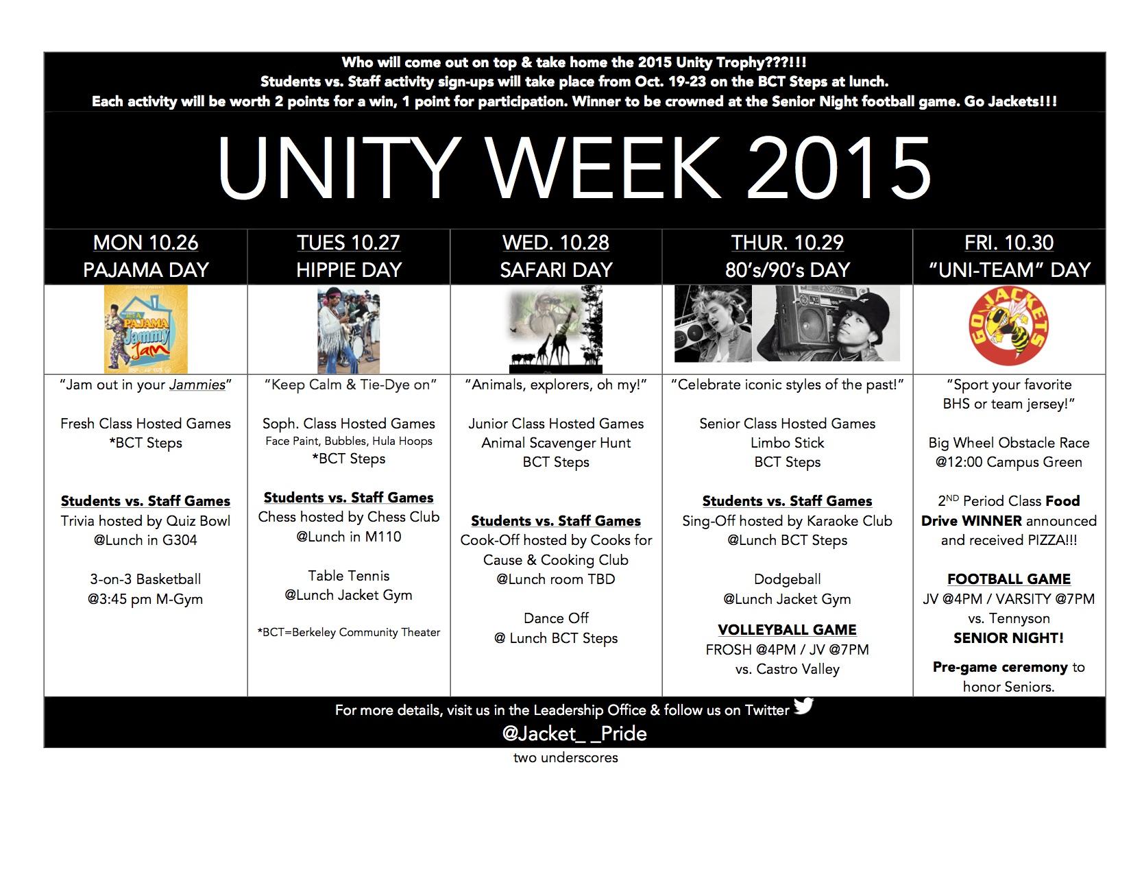 unity week theme days & student vs. staff activities – berkeley high